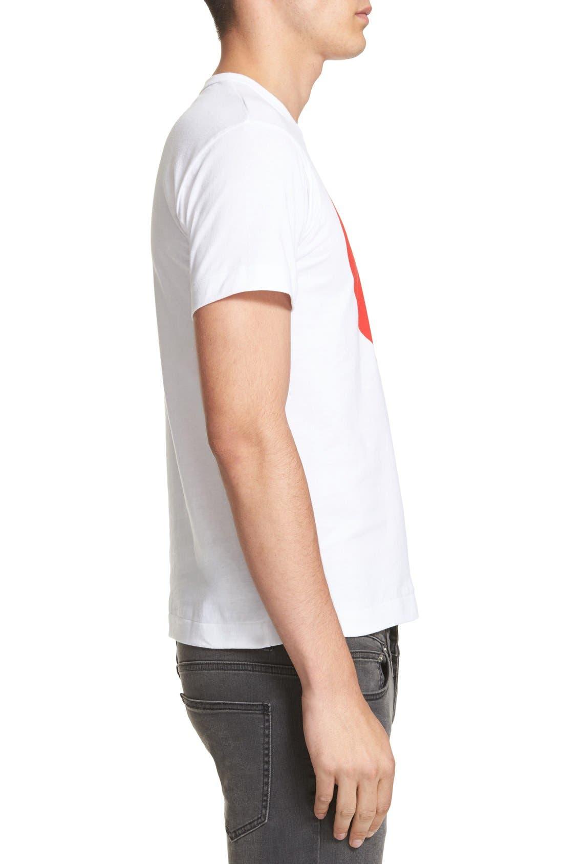 Comme des Garçons PLAY Graphic T-Shirt,                             Alternate thumbnail 3, color,                             White