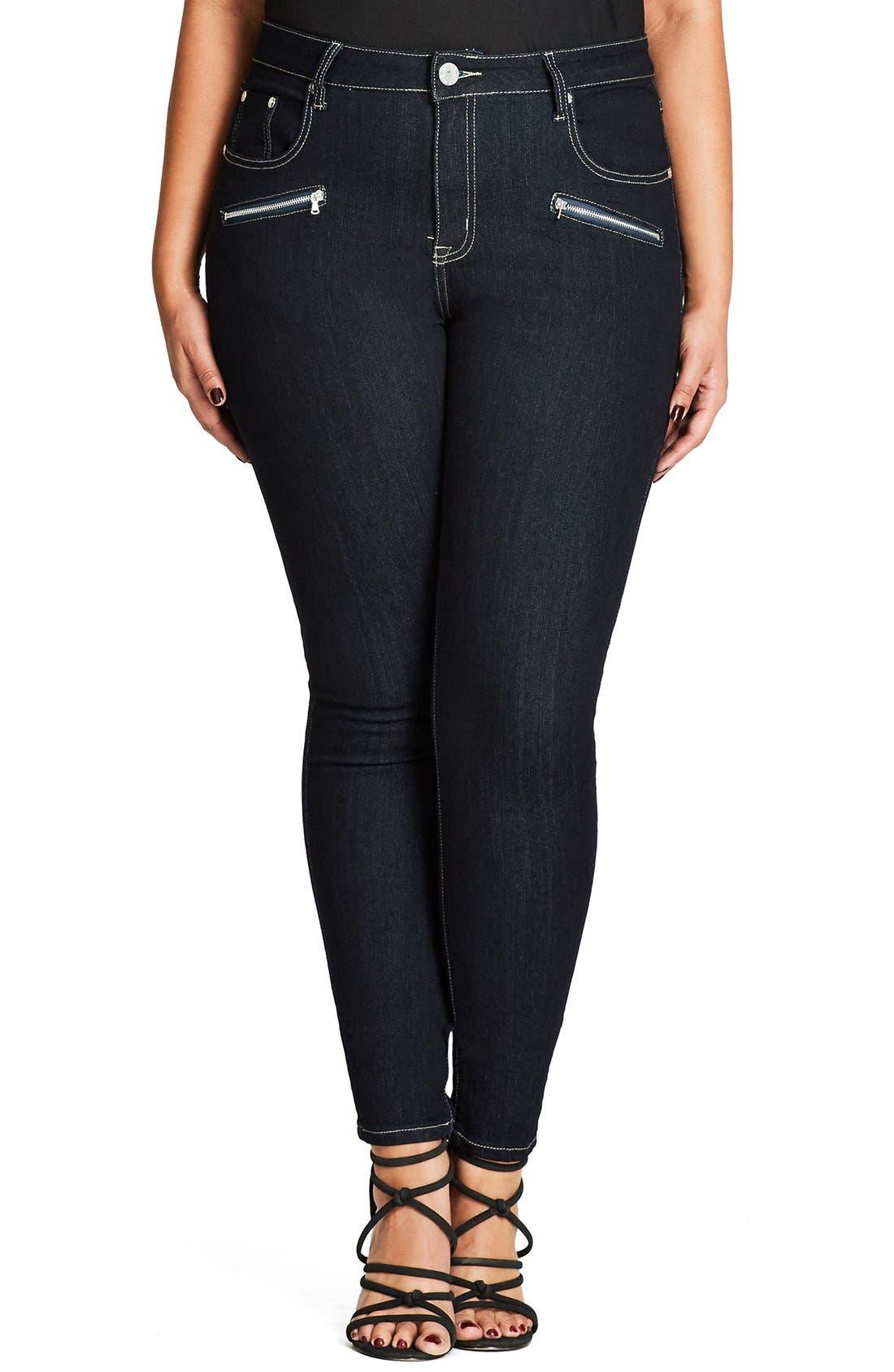 Main Image - City Chic Glam Zip Skinny Jeans (Dark Denim) (Plus Size)