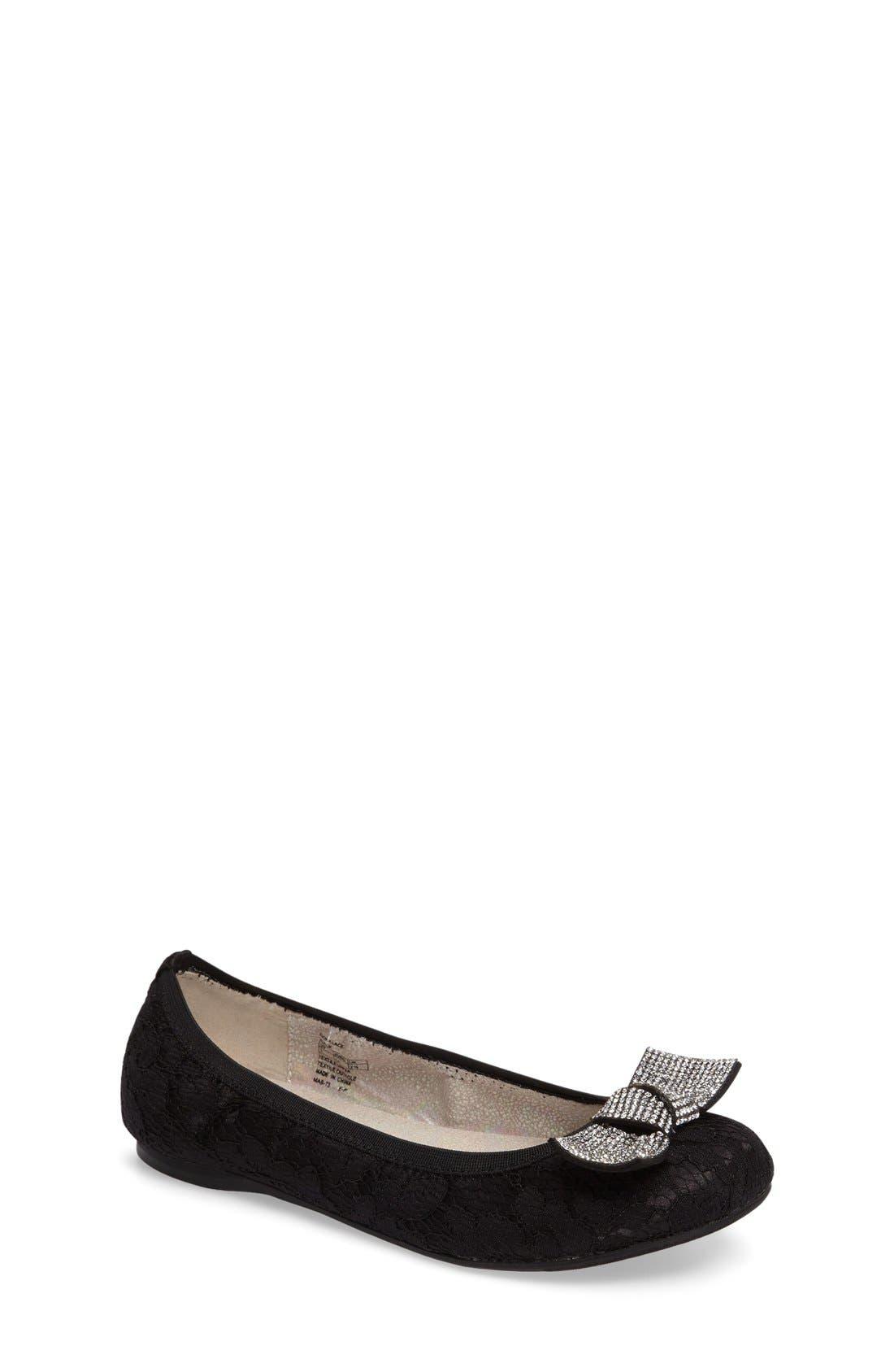Fiona Crystal Embellished Lace Flat,                             Main thumbnail 1, color,                             Black