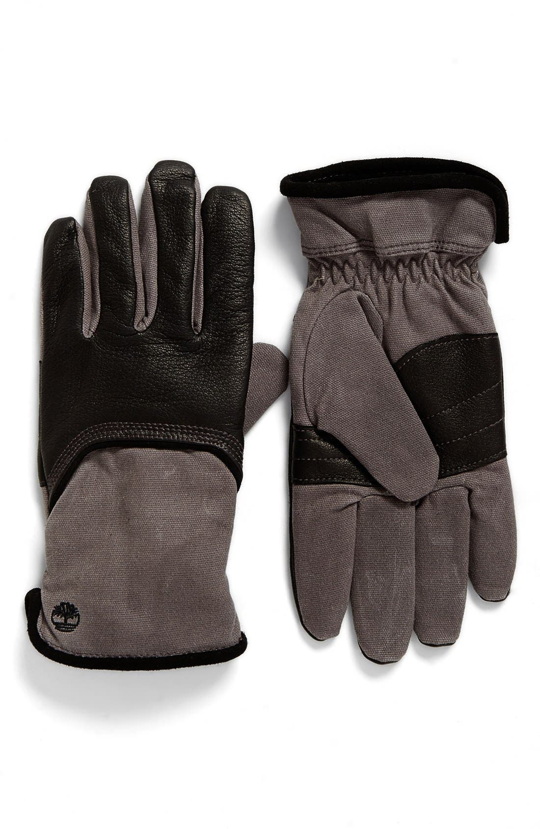 Leather & Canvas Gloves,                             Main thumbnail 1, color,                             Black