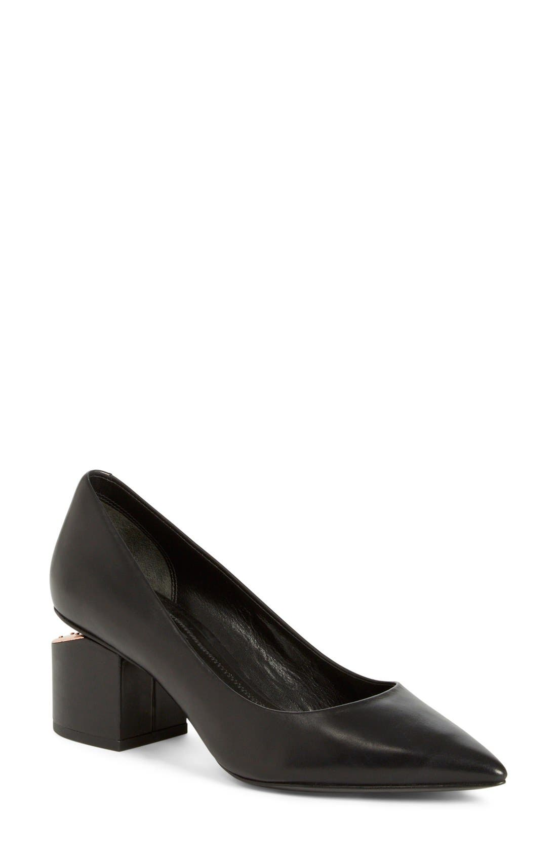 'Simona' Block Heel Pump,                         Main,                         color, Black