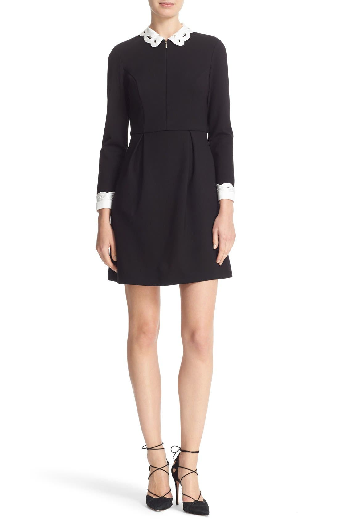 Main Image - Ted Baker London Embroidered Collar Fit & Flare Dress