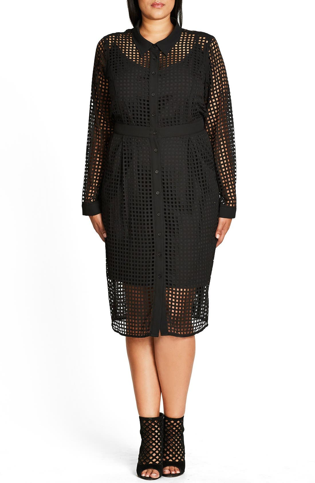 City Chic Flicker Grid Cut Shirtdress (Plus Size)