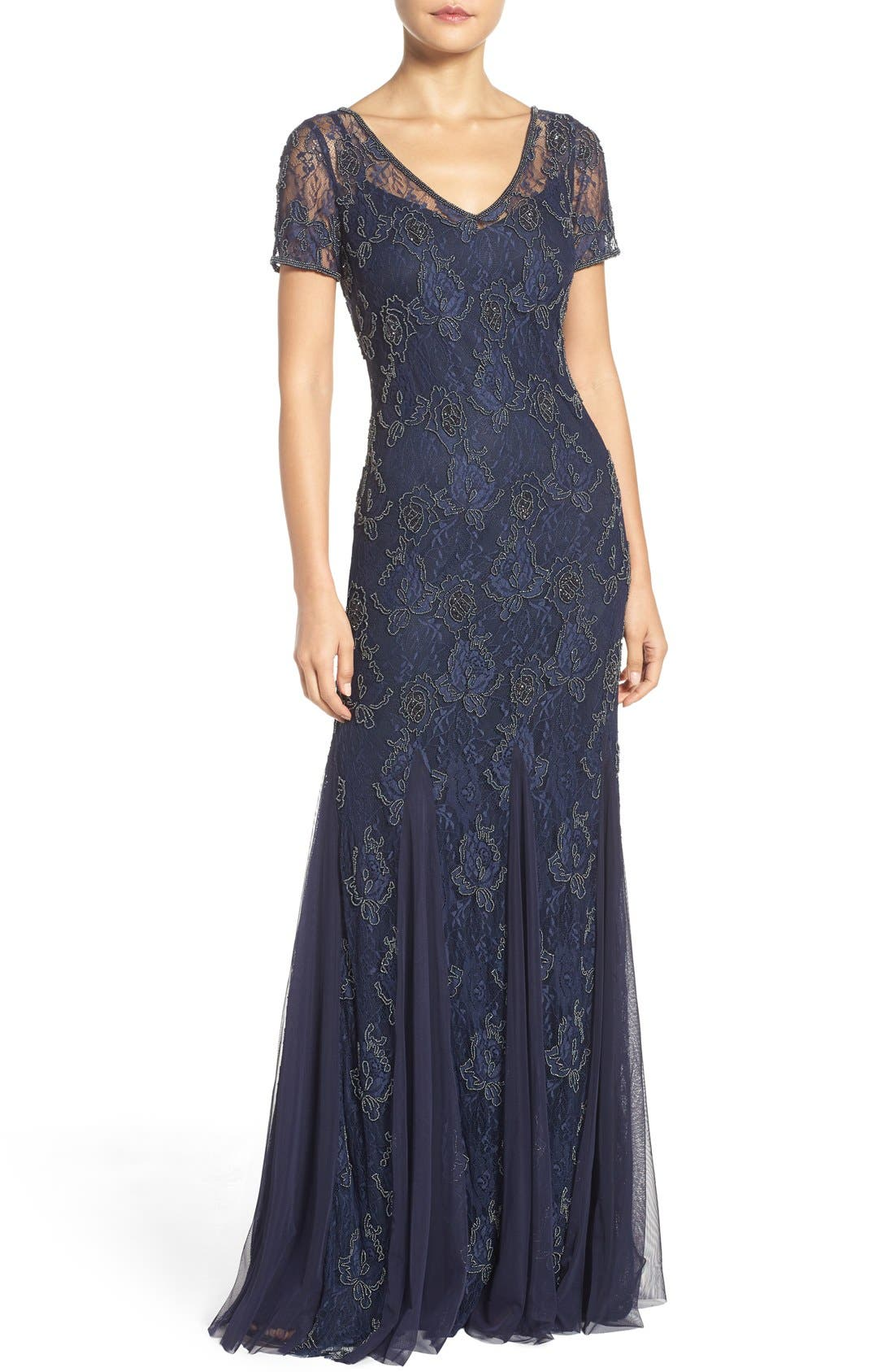 Alternate Image 1 Selected - Adrianna Papell Beaded Lace Gown