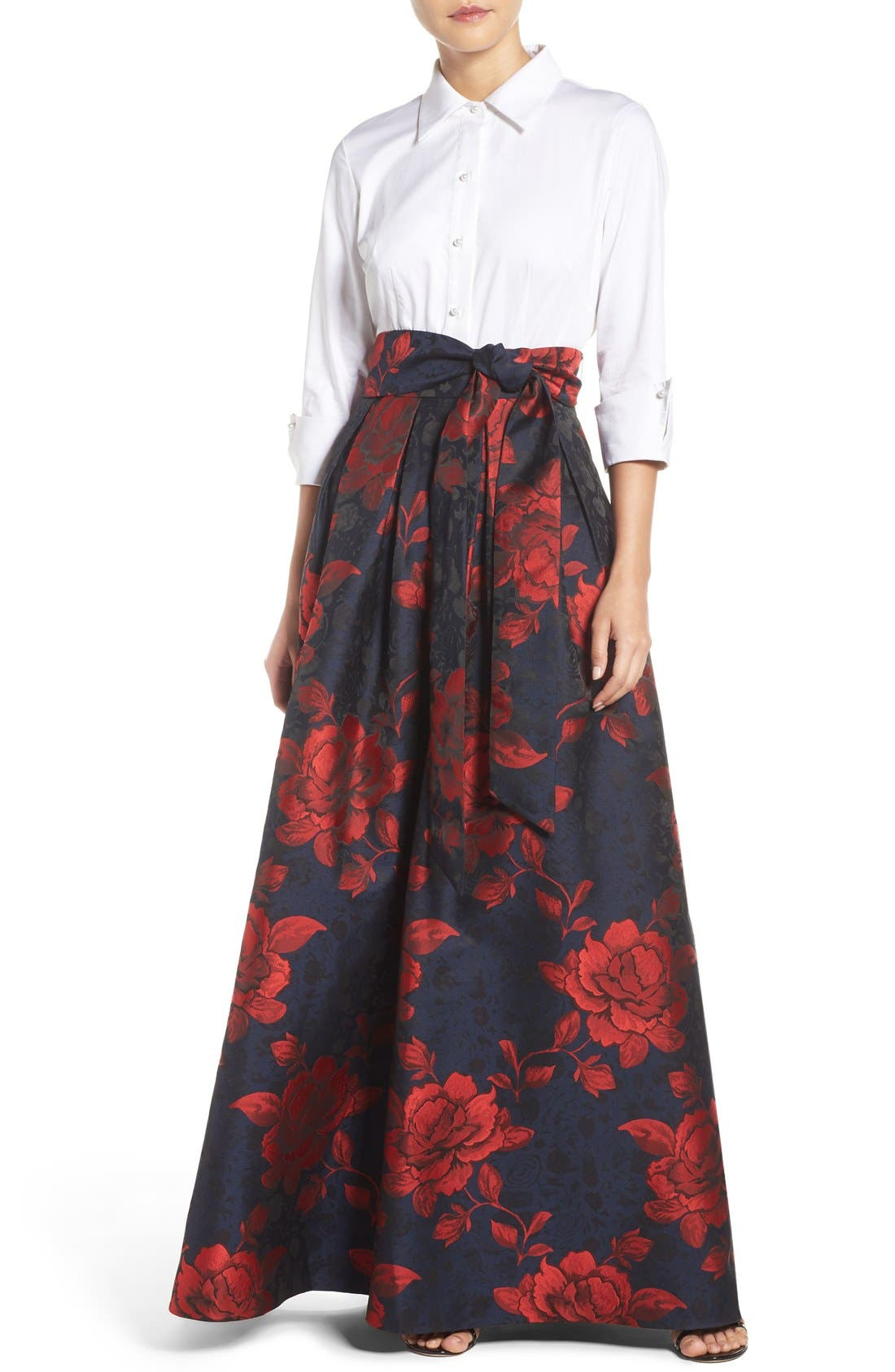 Mock Two-Piece Gown,                         Main,                         color, White/ Red/ Blue
