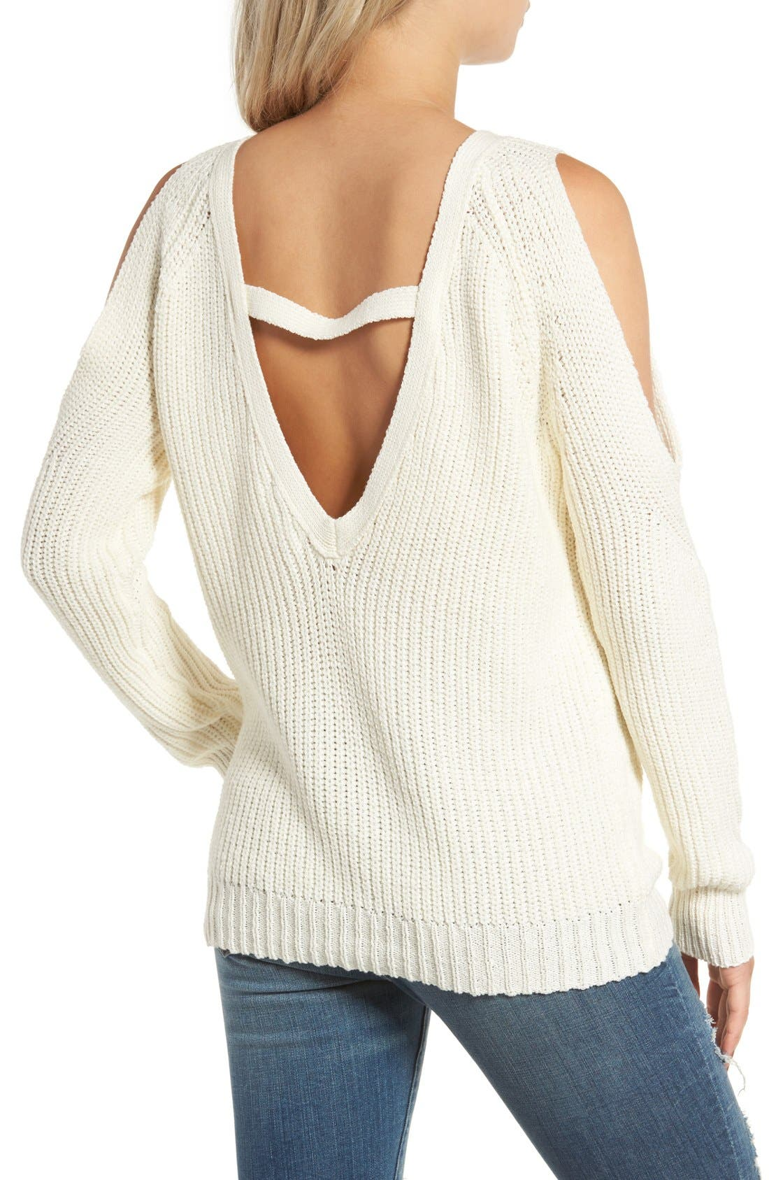 Cold Shoulder Sweater,                             Alternate thumbnail 2, color,                             Cream