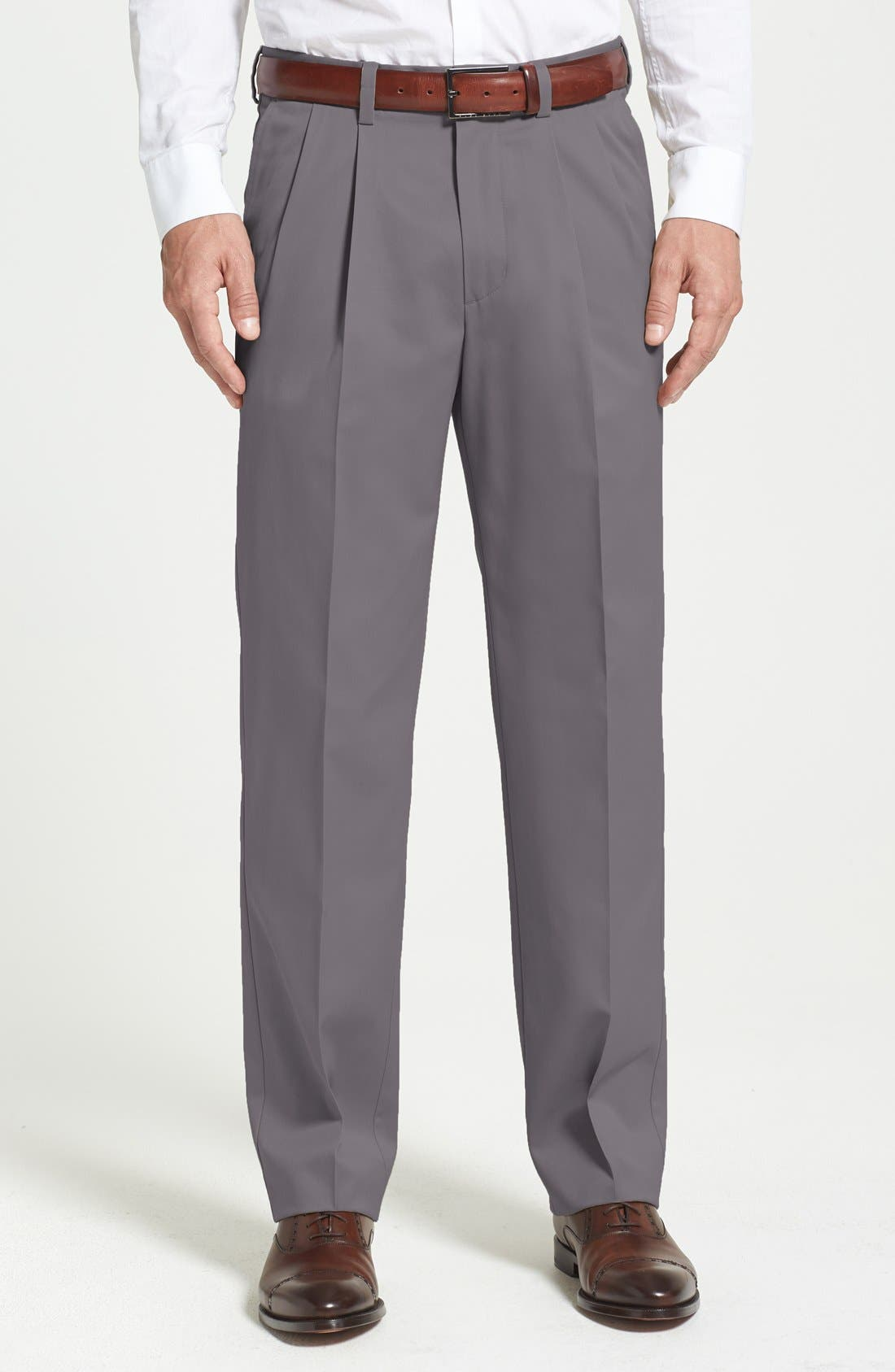 'Classic' Smartcare<sup>™</sup> Relaxed Fit Double Pleated Cotton Pants,                         Main,                         color, Grey Tornado
