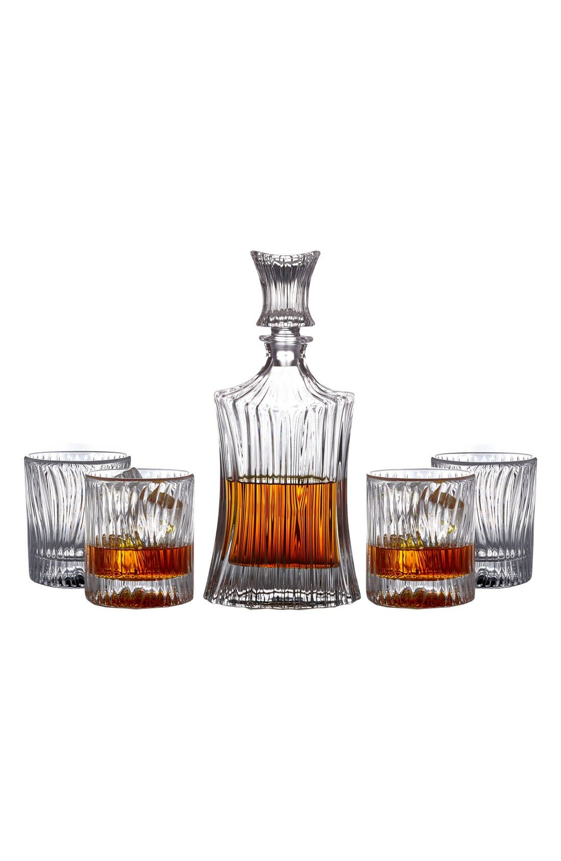 Augusta 5-Piece Decanter & Whiskey Glasses Set,                             Alternate thumbnail 2, color,                             Clear