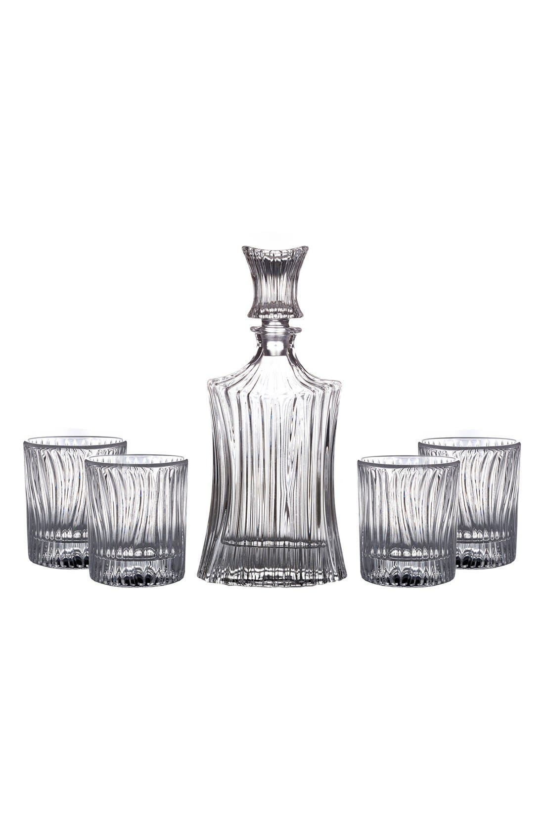 Augusta 5-Piece Decanter & Whiskey Glasses Set,                             Main thumbnail 1, color,                             Clear