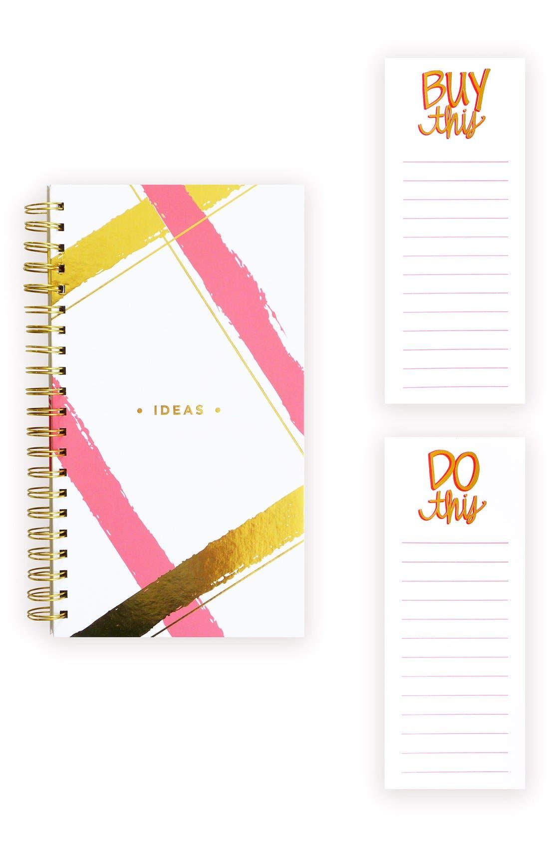 Spiral Notebook & Notepad Set,                         Main,                         color, Pink