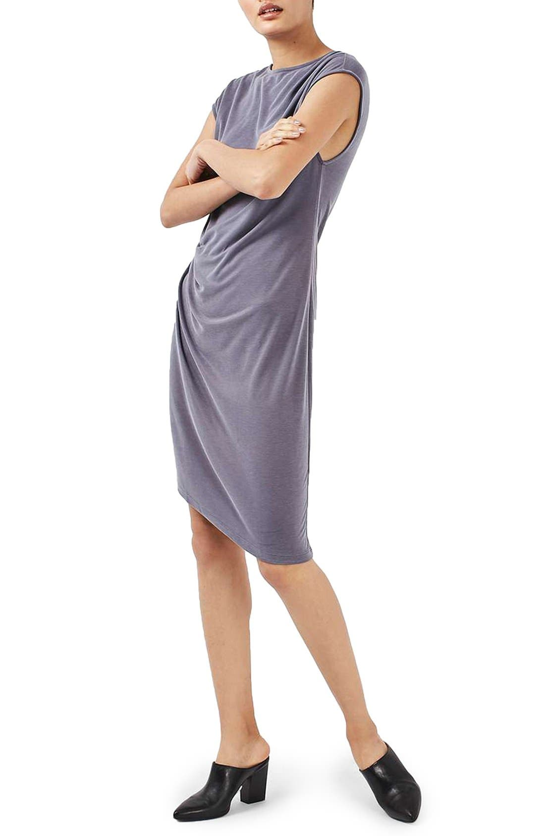 Alternate Image 1 Selected - Topshop Asymmetric Slinky Drape Dress (Regular & Petite)