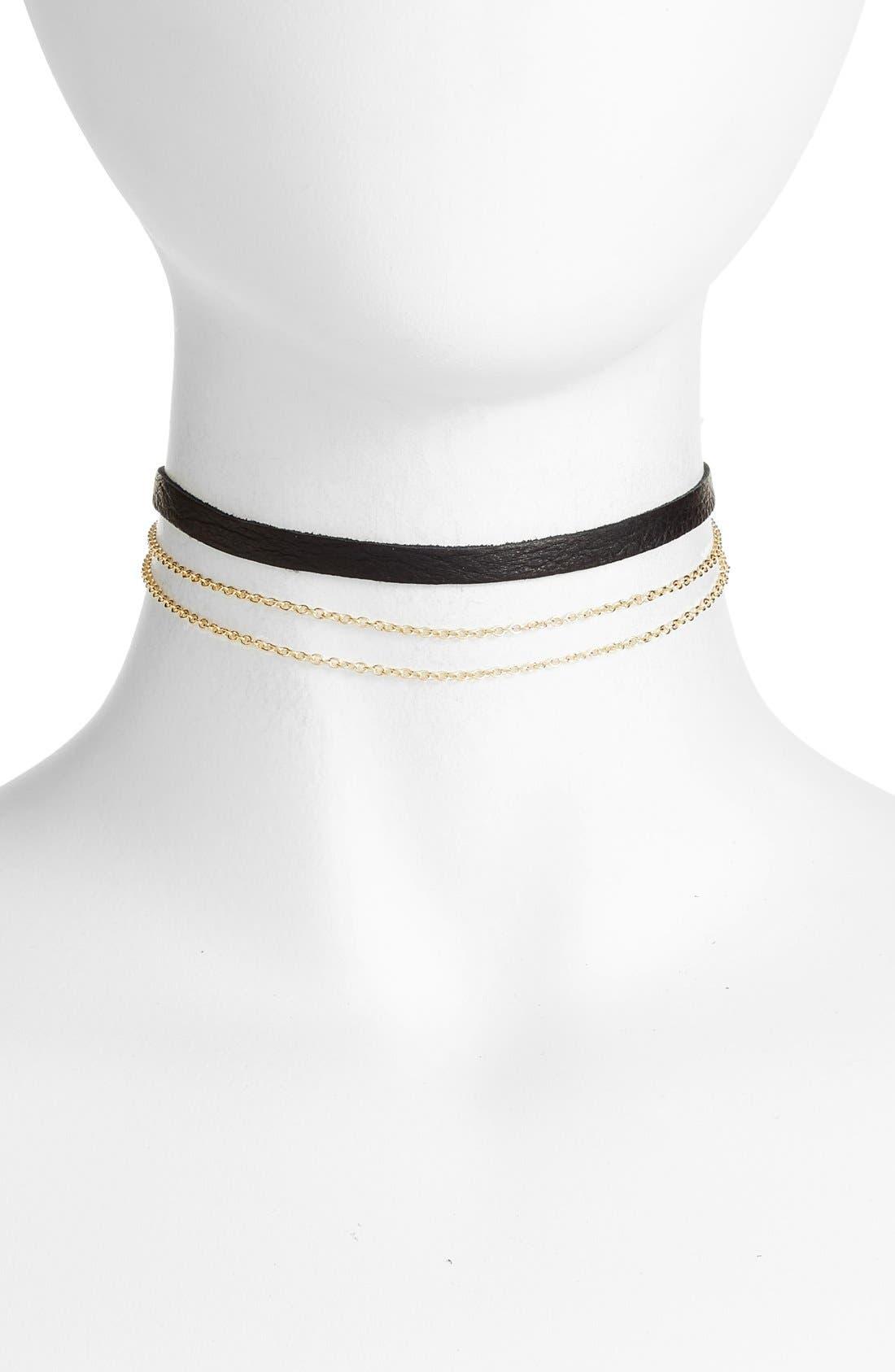 Leather & Chain Choker,                         Main,                         color, Black