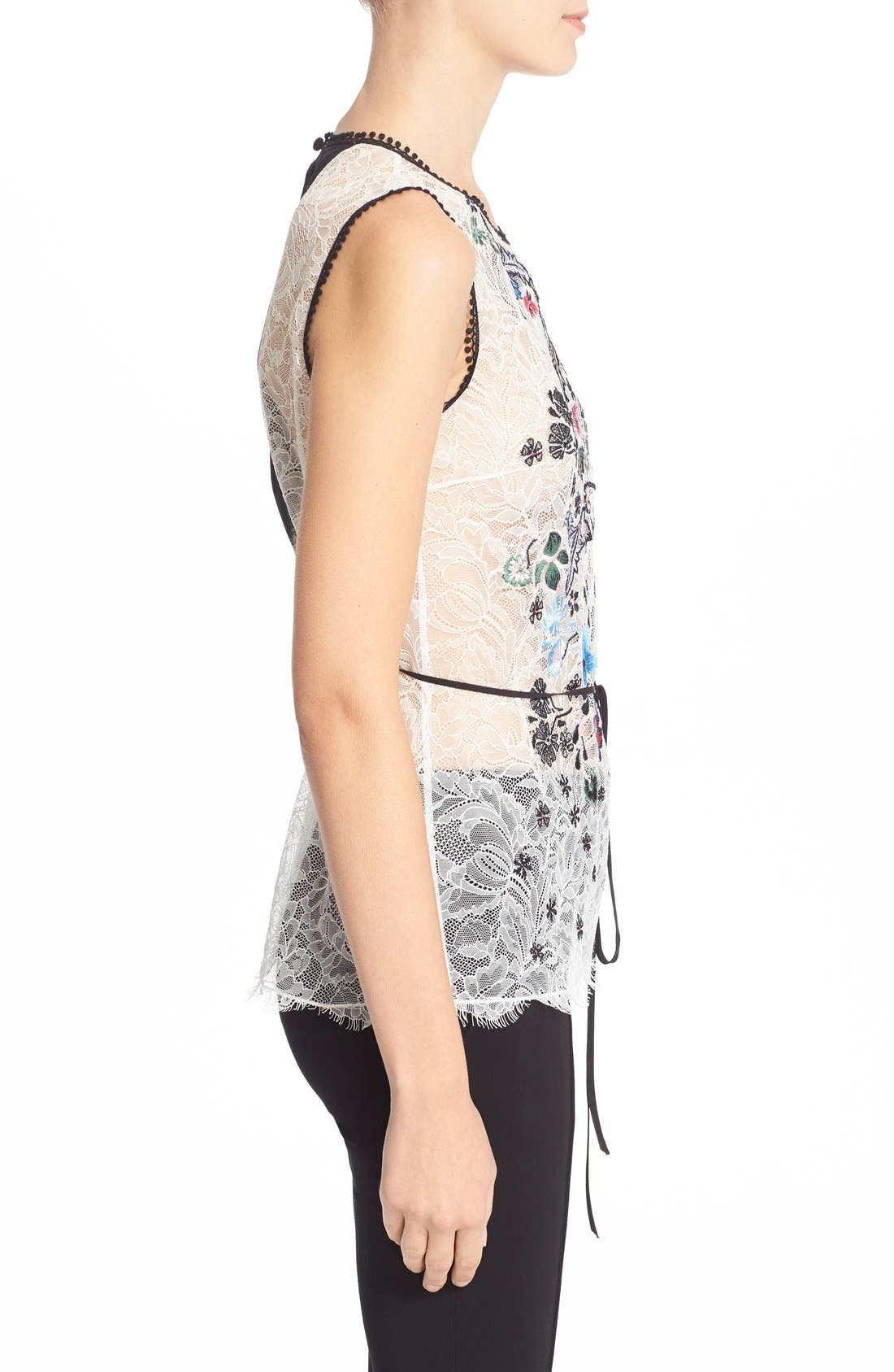 Alternate Image 5  - Yigal Azrouël Floral Embroidered Lace Top