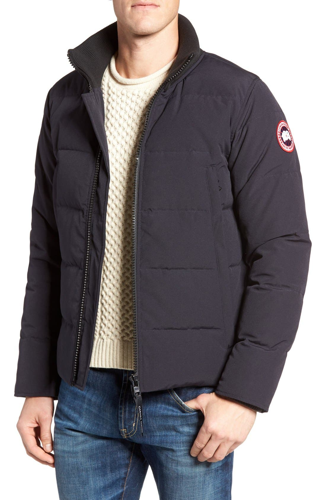 'Woolford' Down Bomber Jacket,                             Main thumbnail 1, color,                             Navy