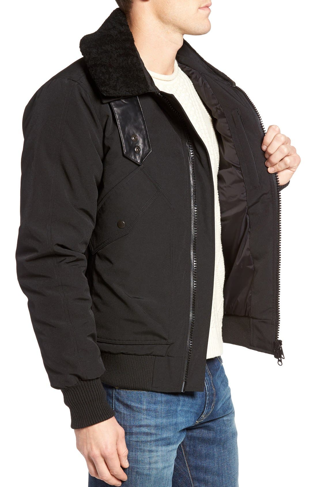 Alternate Image 3  - Canada Goose Bromley Down Bomber Jacket with Genuine Shearling Collar