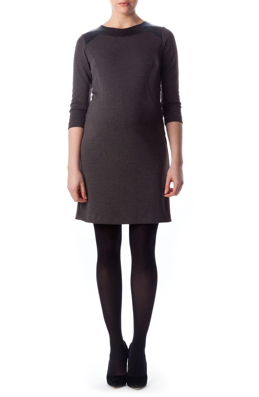 Milano Ponte Dress,                         Main,                         color, Dark Grey Melange/ Black