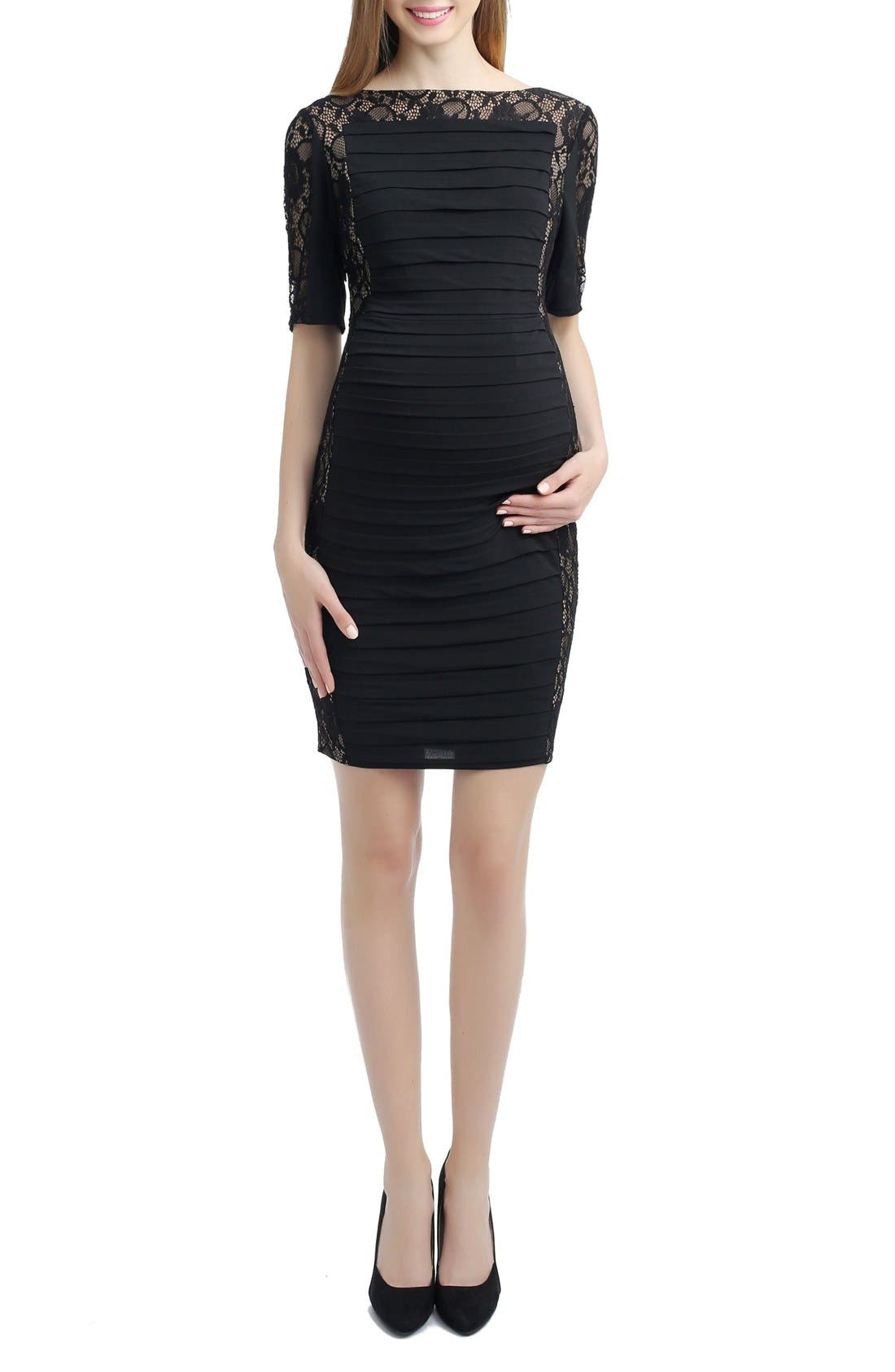 Estelle Lace Maternity Dress,                         Main,                         color, Black