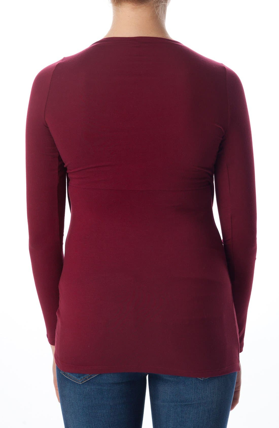 Anemone Maternity Wrap Top,                             Alternate thumbnail 2, color,                             Ruby Wine