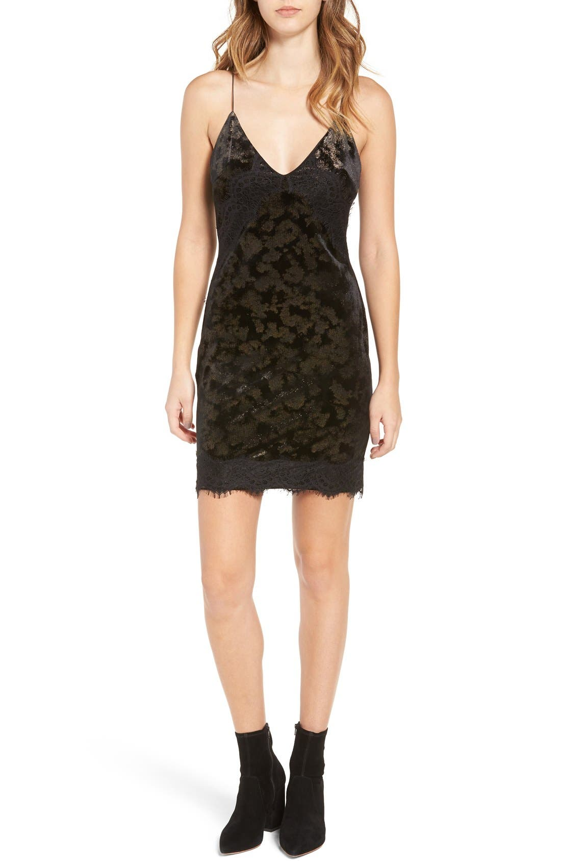 Lace Trim Velvet Jacquard Slipdress,                         Main,                         color, Black