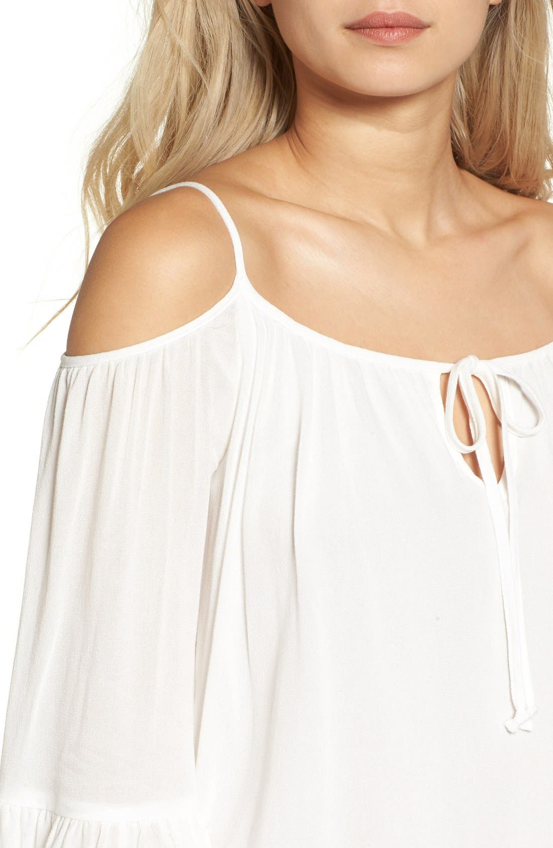 Alternate Image 4  - Sun & Shadow Off the Shoulder Ruffle Top