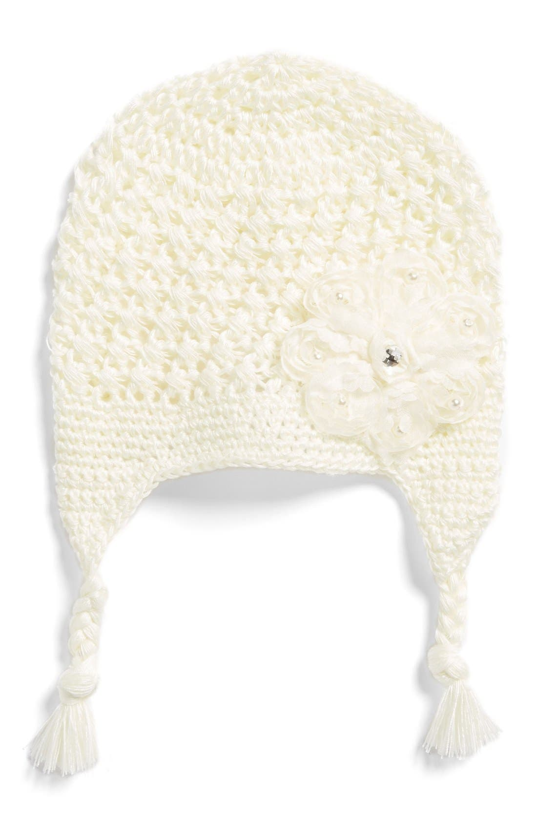 Main Image - PLHBows & Laces Crochet Hat (Baby Girls)