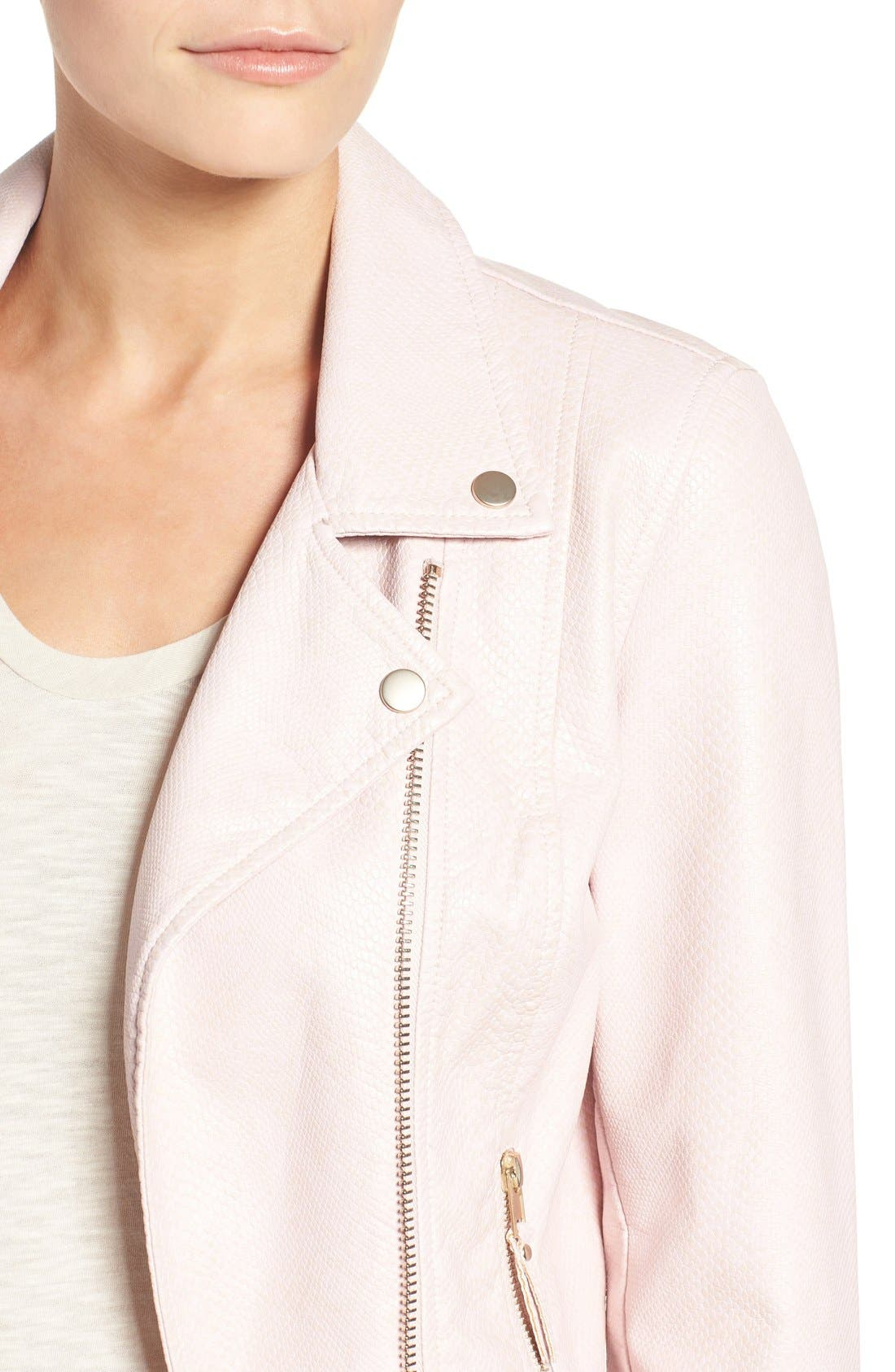 Brooke Faux Leather Moto Jacket,                             Alternate thumbnail 4, color,                             Blush