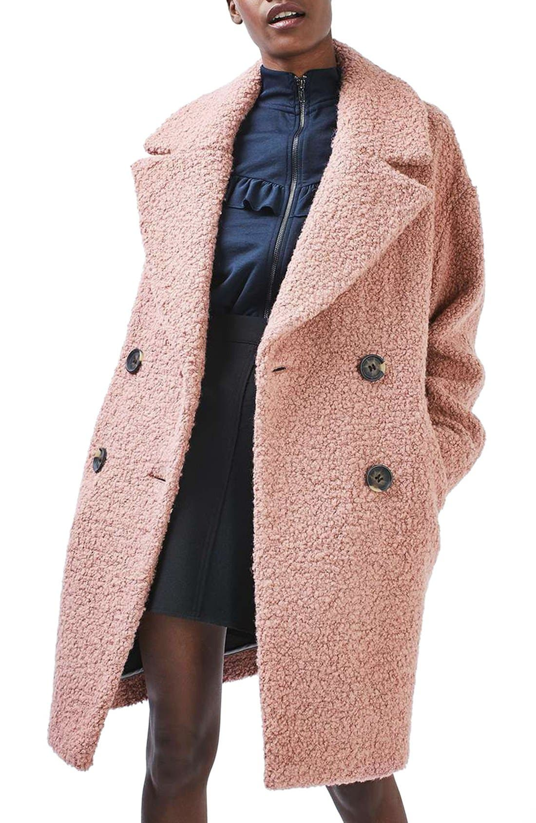 Alicia Bouclé Coat,                             Main thumbnail 1, color,                             Pink