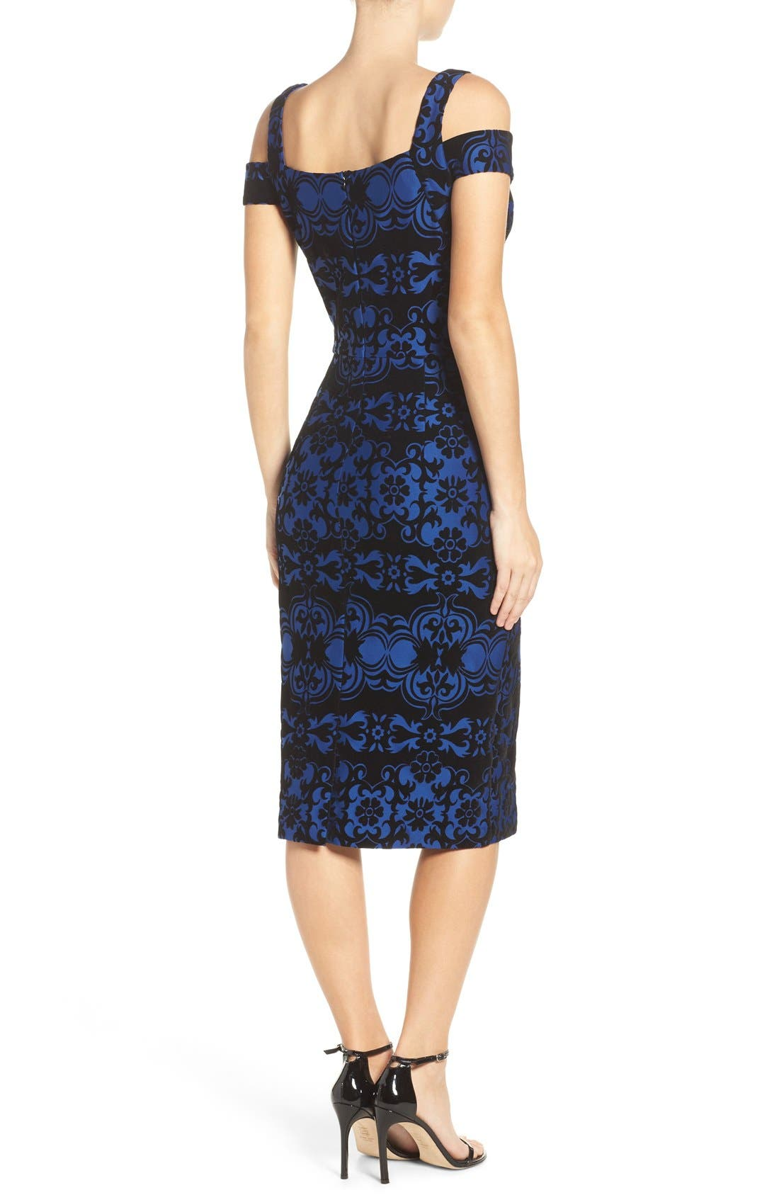 Flocked Midi Dress,                             Alternate thumbnail 2, color,                             Black/ Blue