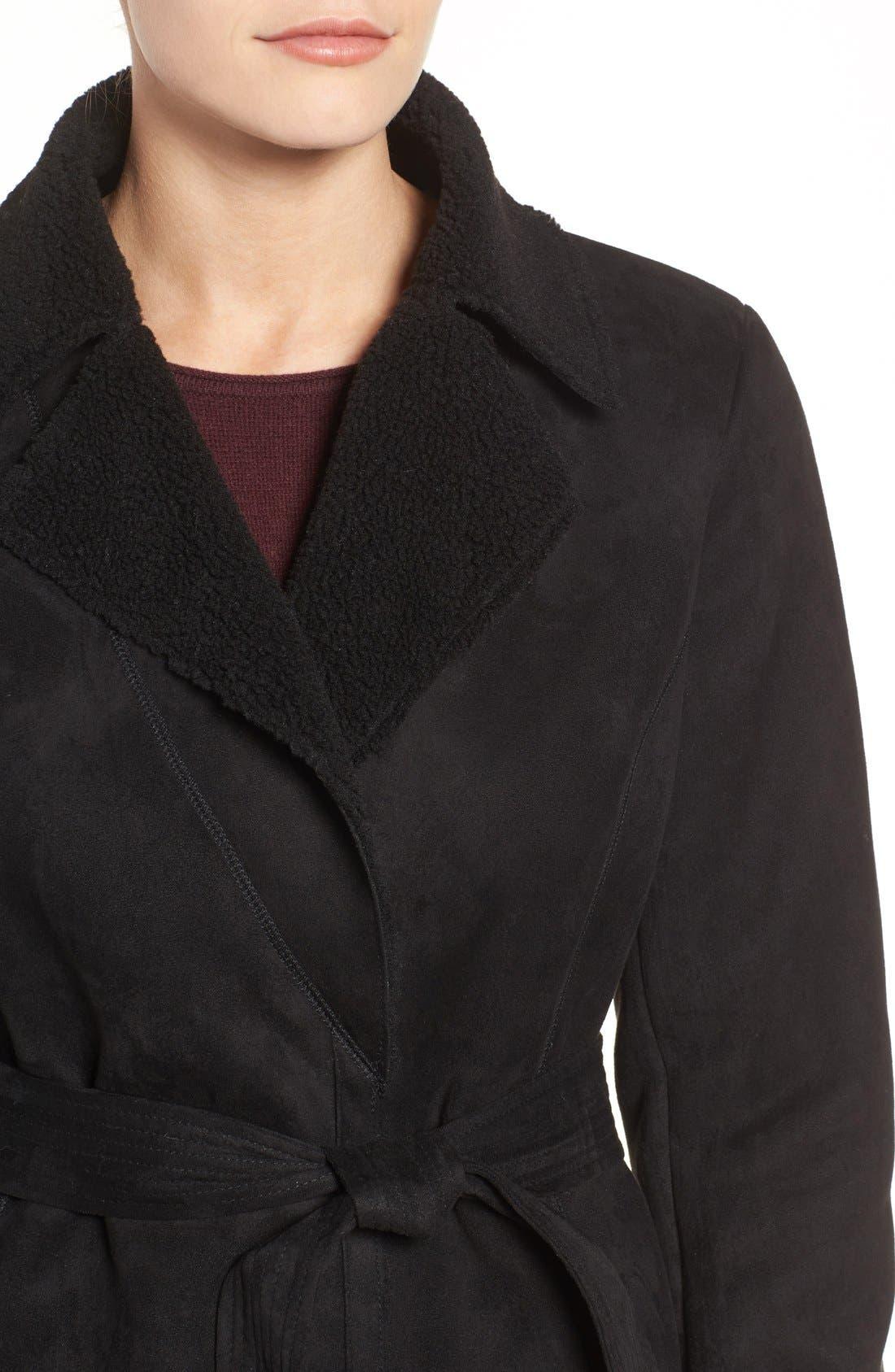 Faux Shearling Wrap Trench Coat,                             Alternate thumbnail 4, color,                             Black
