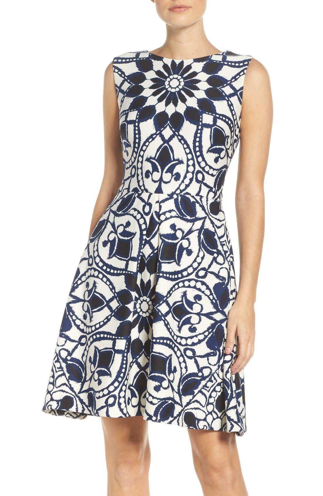 Alternate Image 1 Selected - Taylor Dresses Mirror Print Fit & Flare Dress