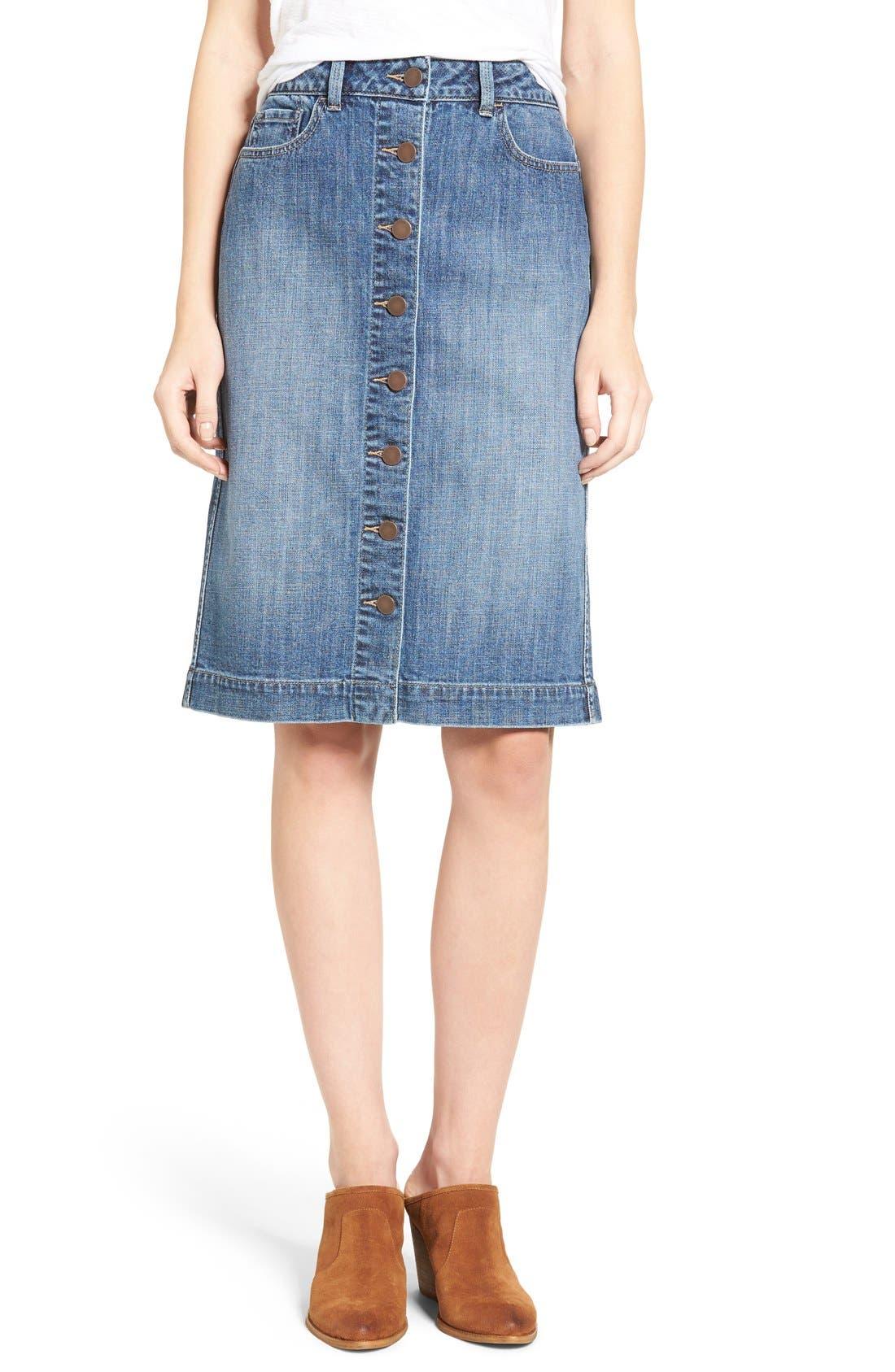 Button Front Denim Midi Skirt,                             Main thumbnail 1, color,                             Bluejay Medium Vintage