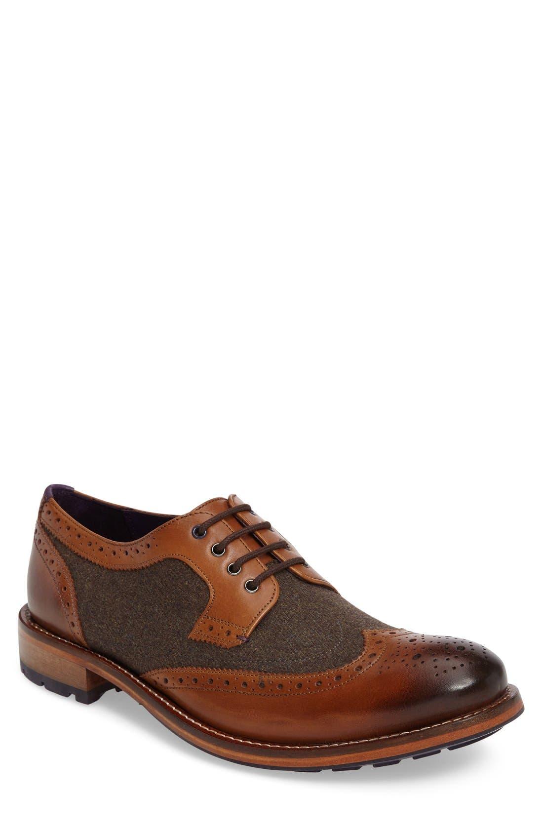 'Cassiuss 4' Wingtip,                         Main,                         color, Tan/ Brown Leather
