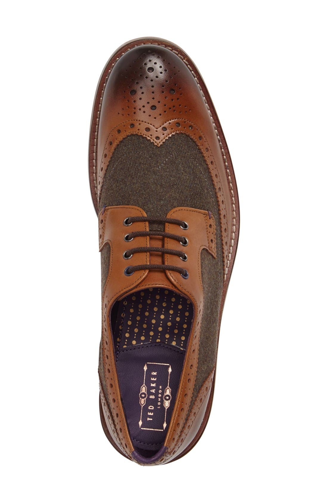 'Cassiuss 4' Wingtip,                             Alternate thumbnail 3, color,                             Tan/ Brown Leather