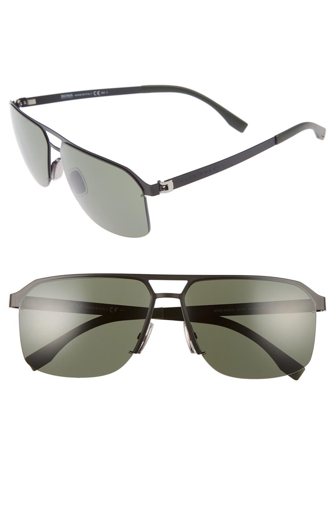 839/S 61mm Sunglasses,                             Main thumbnail 1, color,                             Matte Black