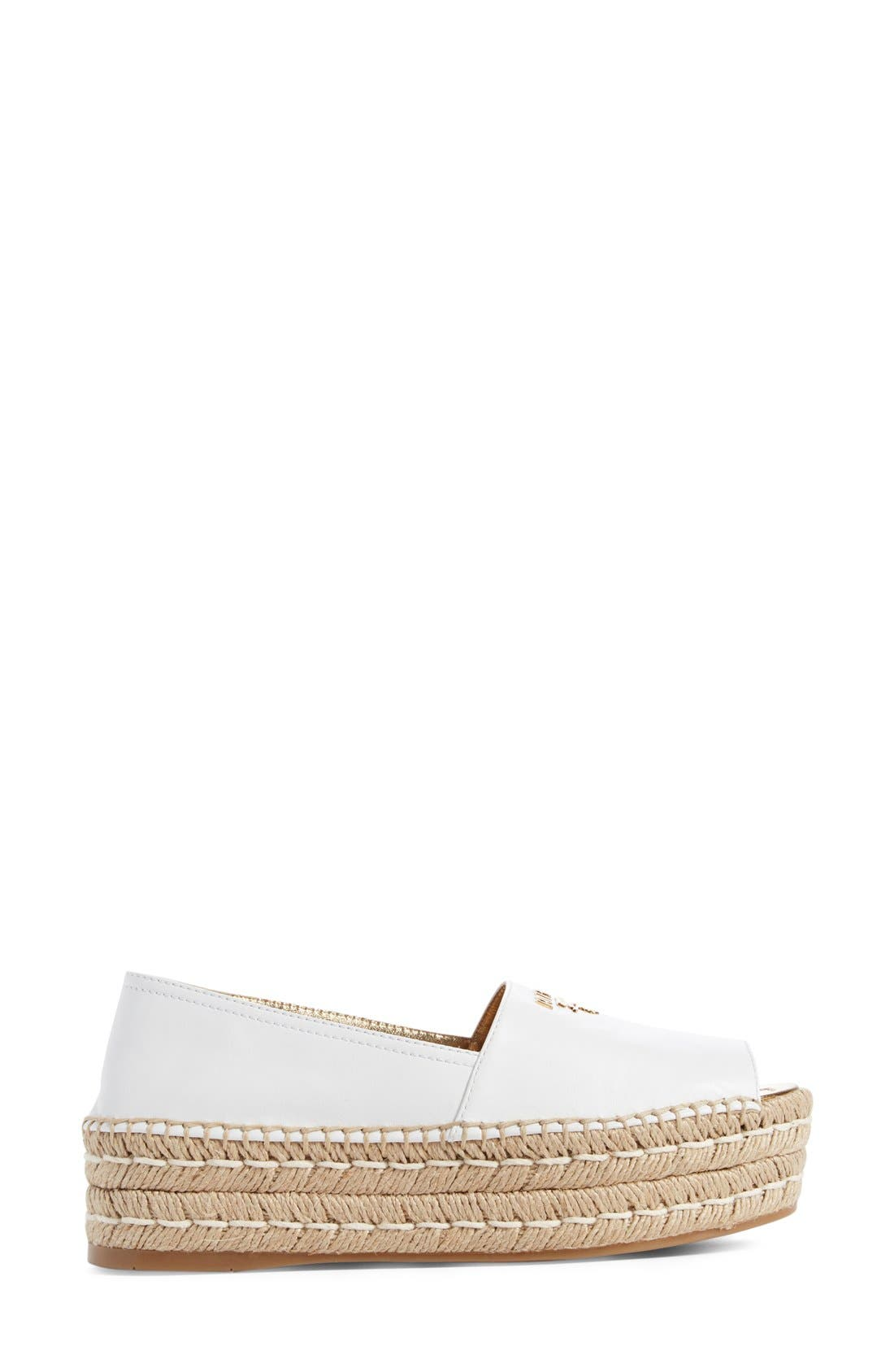 Peep Toe Flatform Espadrille,                             Alternate thumbnail 3, color,                             White