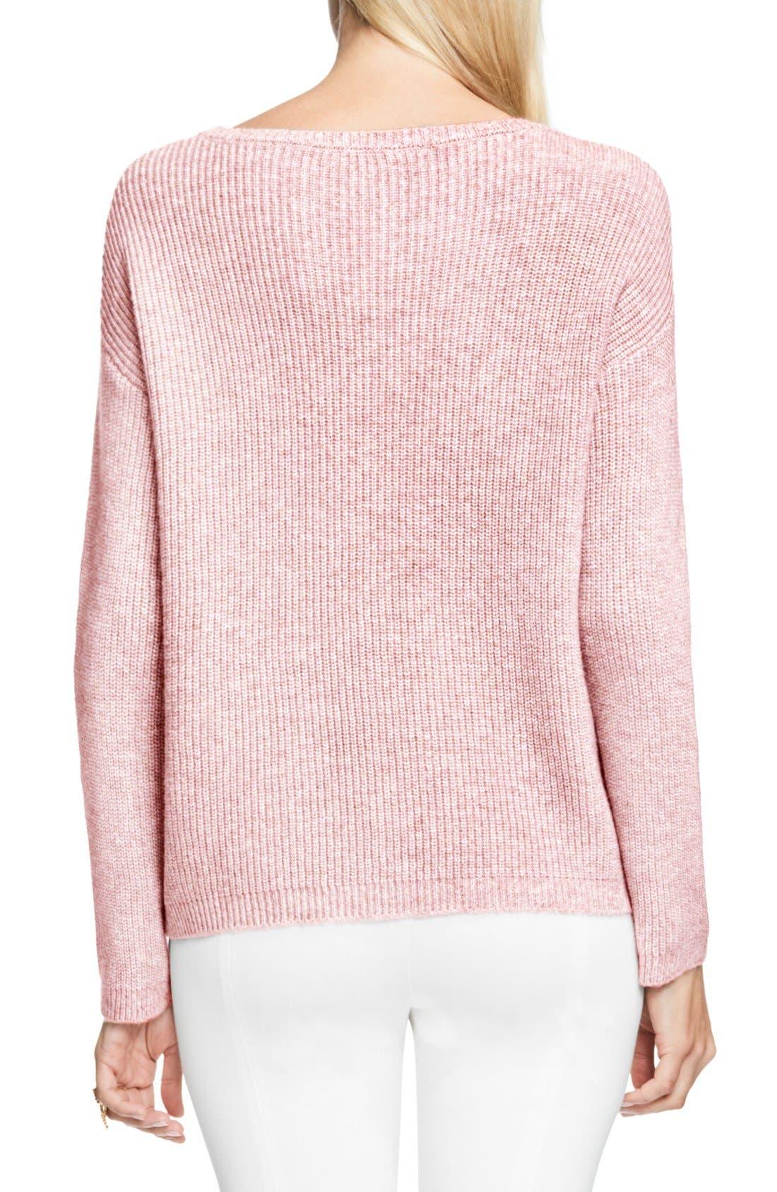 Alternate Image 2  - Vince Camuto Pointelle Yoke Sweater (Regular & Petite)