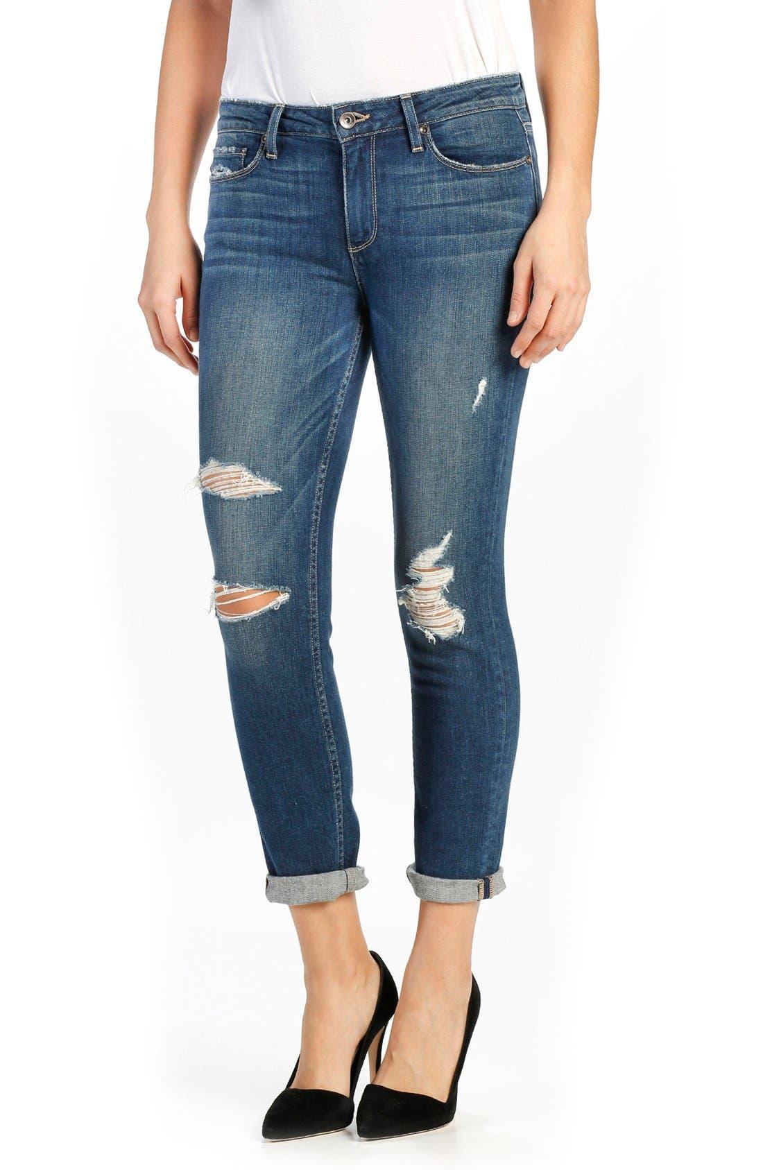 Anabelle Crop Slim Boyfriend Jeans,                             Main thumbnail 1, color,                             Lala Destructed