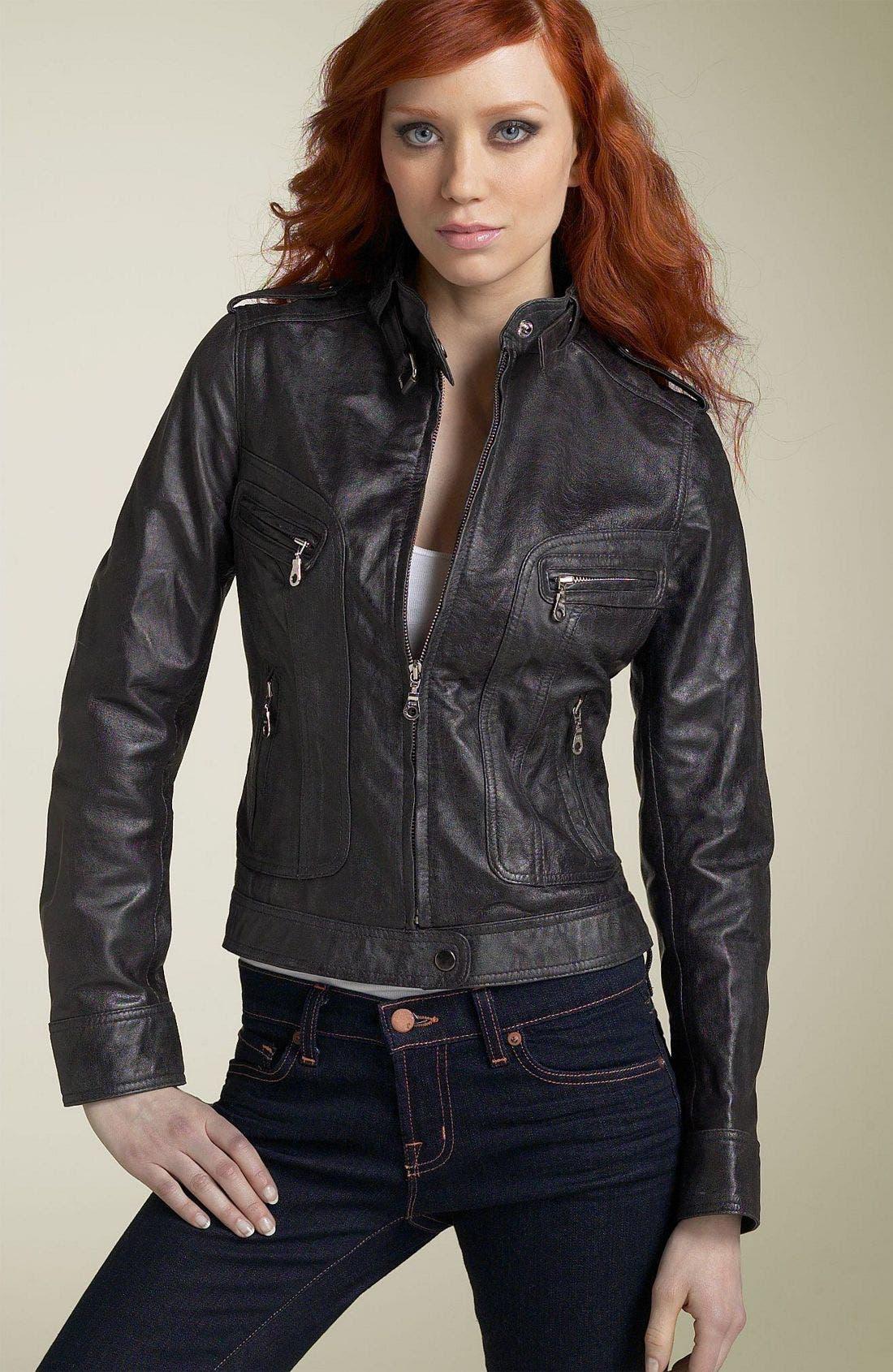 Kenna-T Motorcycle Jacket,                             Main thumbnail 1, color,                             Distressed Black