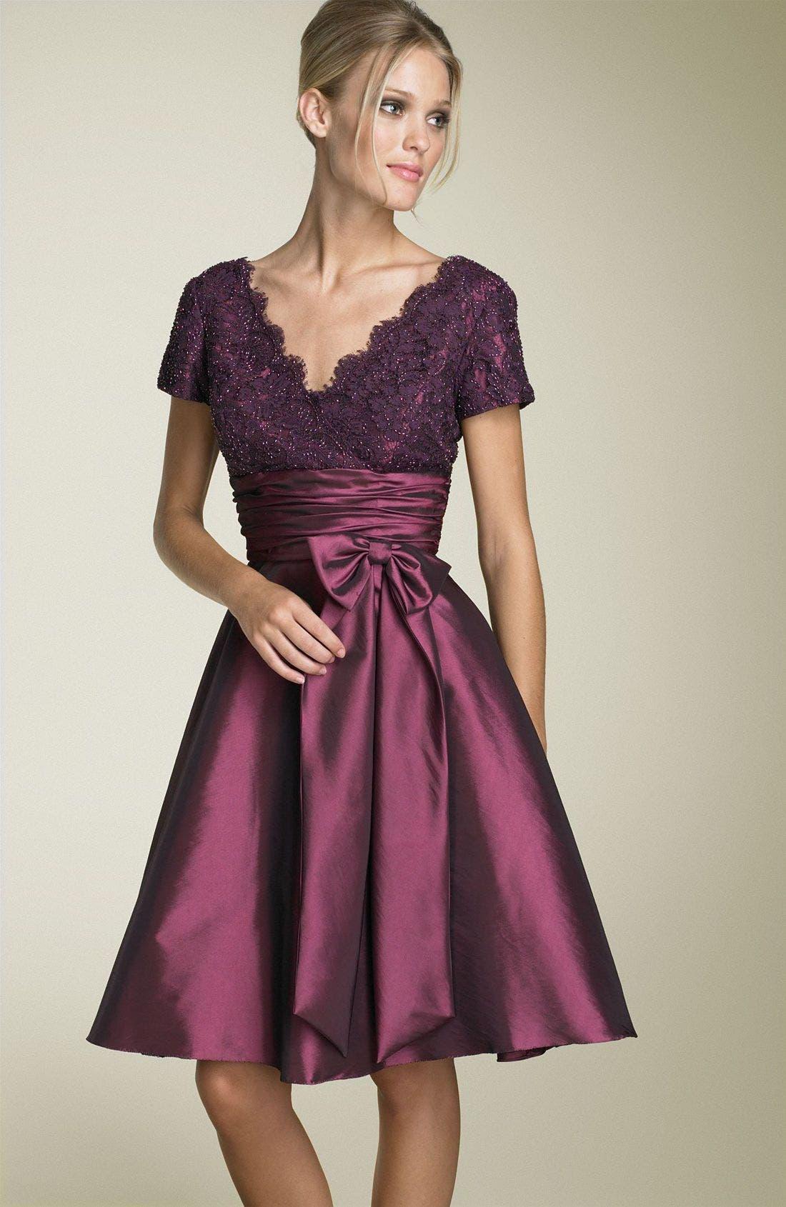 Main Image - JS Boutique Cap Sleeve Lace & Taffeta Dress