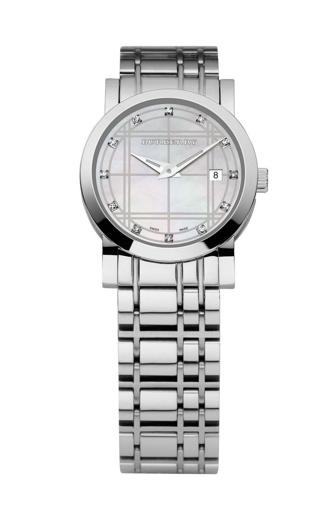 Main Image - Burberry Round Diamond Bracelet Watch