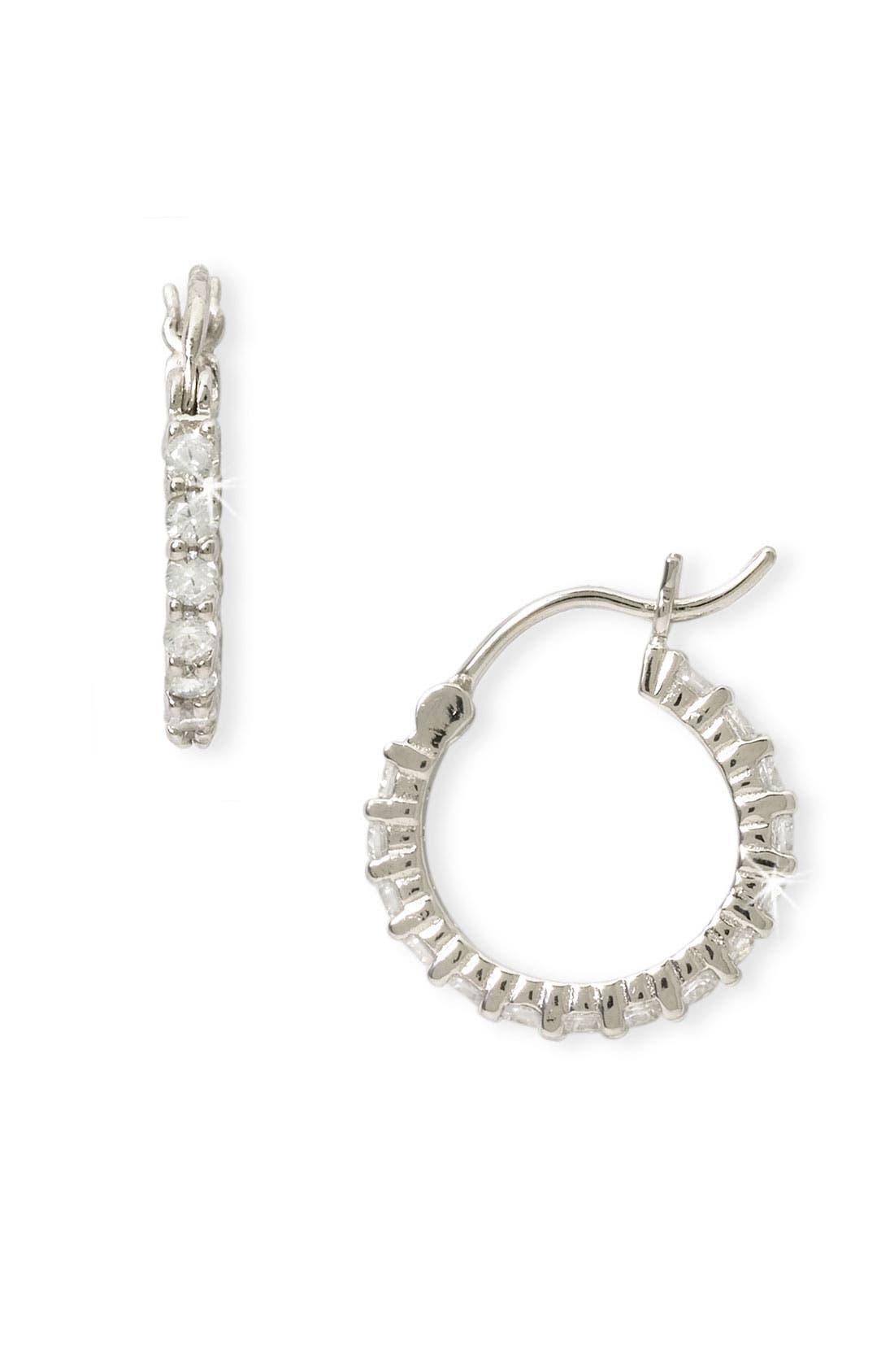 Alternate Image 1 Selected - Nordstrom Cubic Zirconia Thin Hoop Earrings