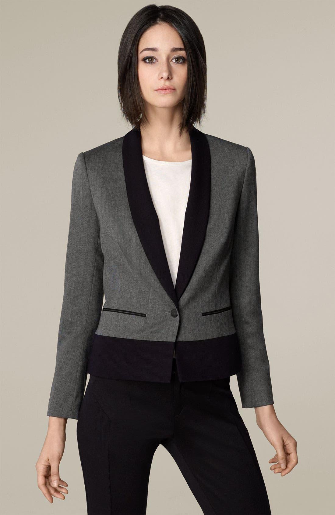 'Jem' One Button Stretch Wool Jacket,                         Main,                         color, Smoke