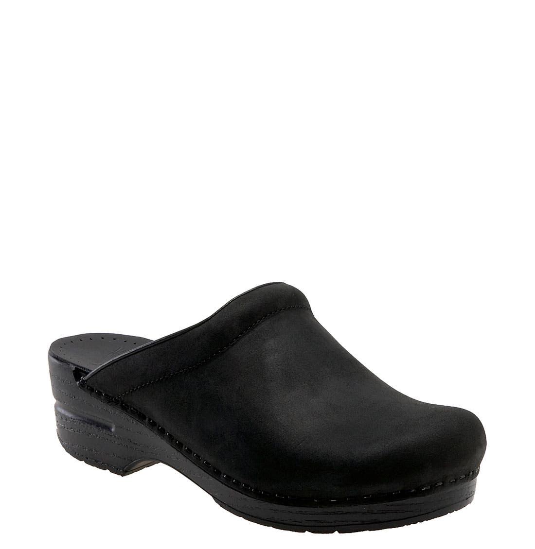 'Sonja' Oiled Leather Clog,                             Main thumbnail 1, color,                             Black Oiled