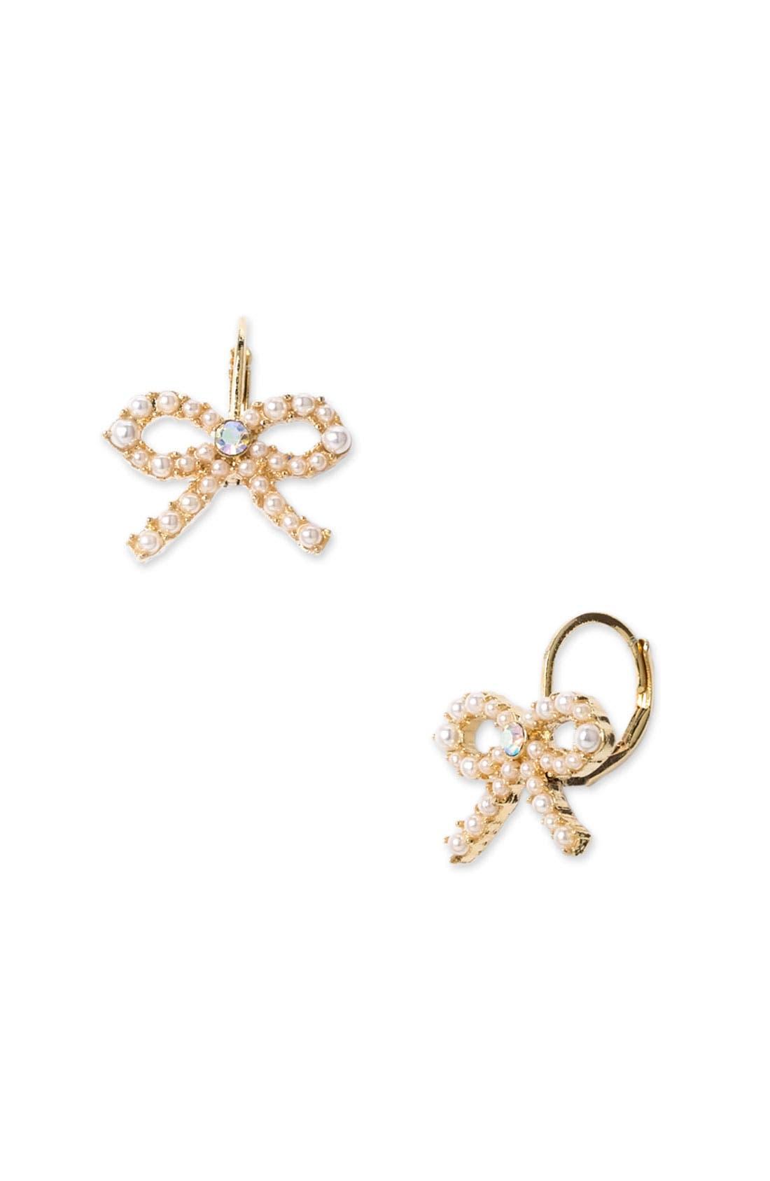 Alternate Image 1 Selected - Betsey Johnson Pearl Bow Drop Earrings
