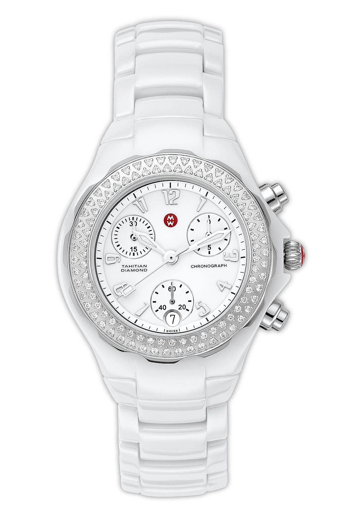 Main Image - MICHELE 'Tahitian Diamond' Ceramic Bracelet Watch, 35mm