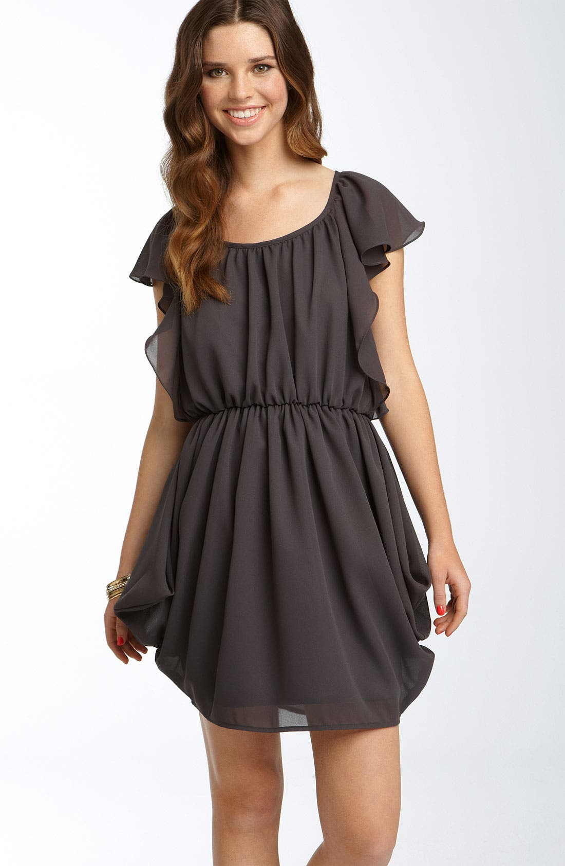 Main Image - Velvet Torch Gathered Chiffon Dress (Juniors)