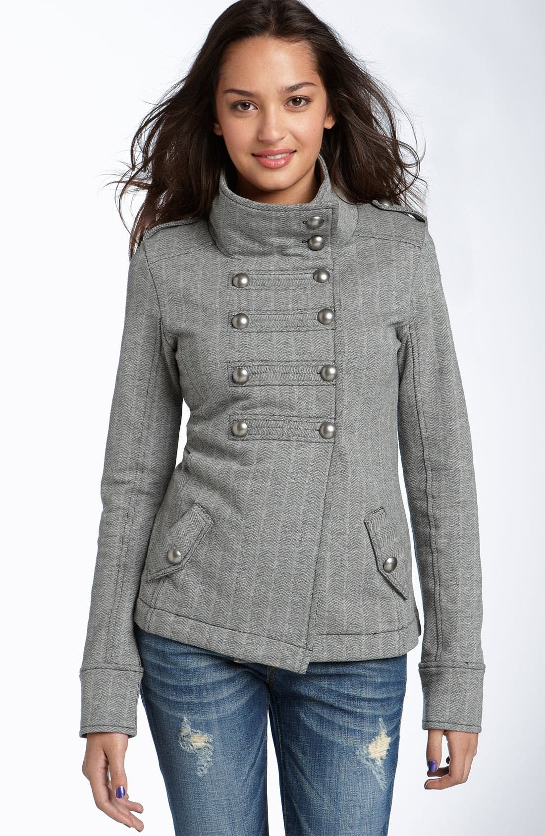 Rubbish Military Knit Jacket,                         Main,                         color, Heather