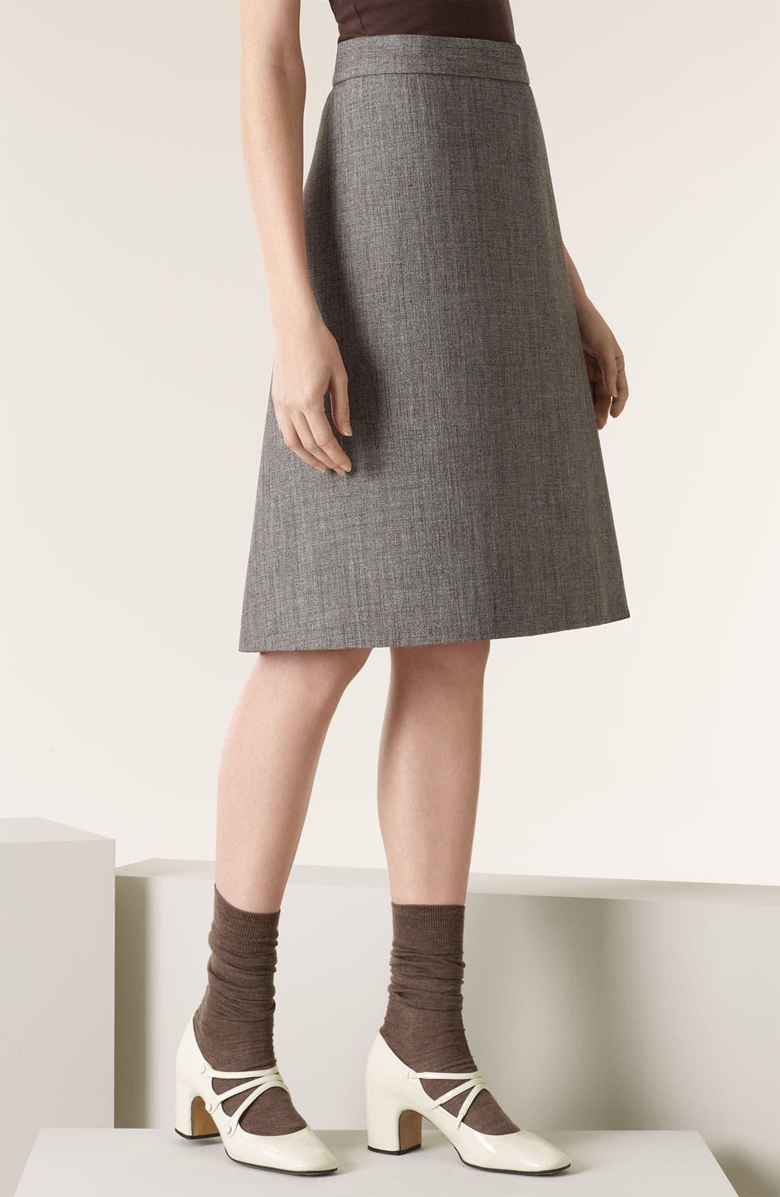 Double Face Mélange Wool Skirt,                             Main thumbnail 1, color,                             Brown
