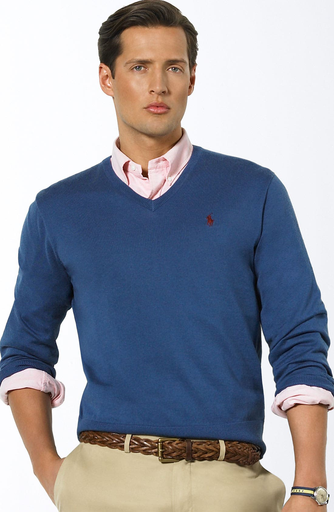 'Luxe' V-Neck Sweater,                             Main thumbnail 1, color,                             New Blue Heather