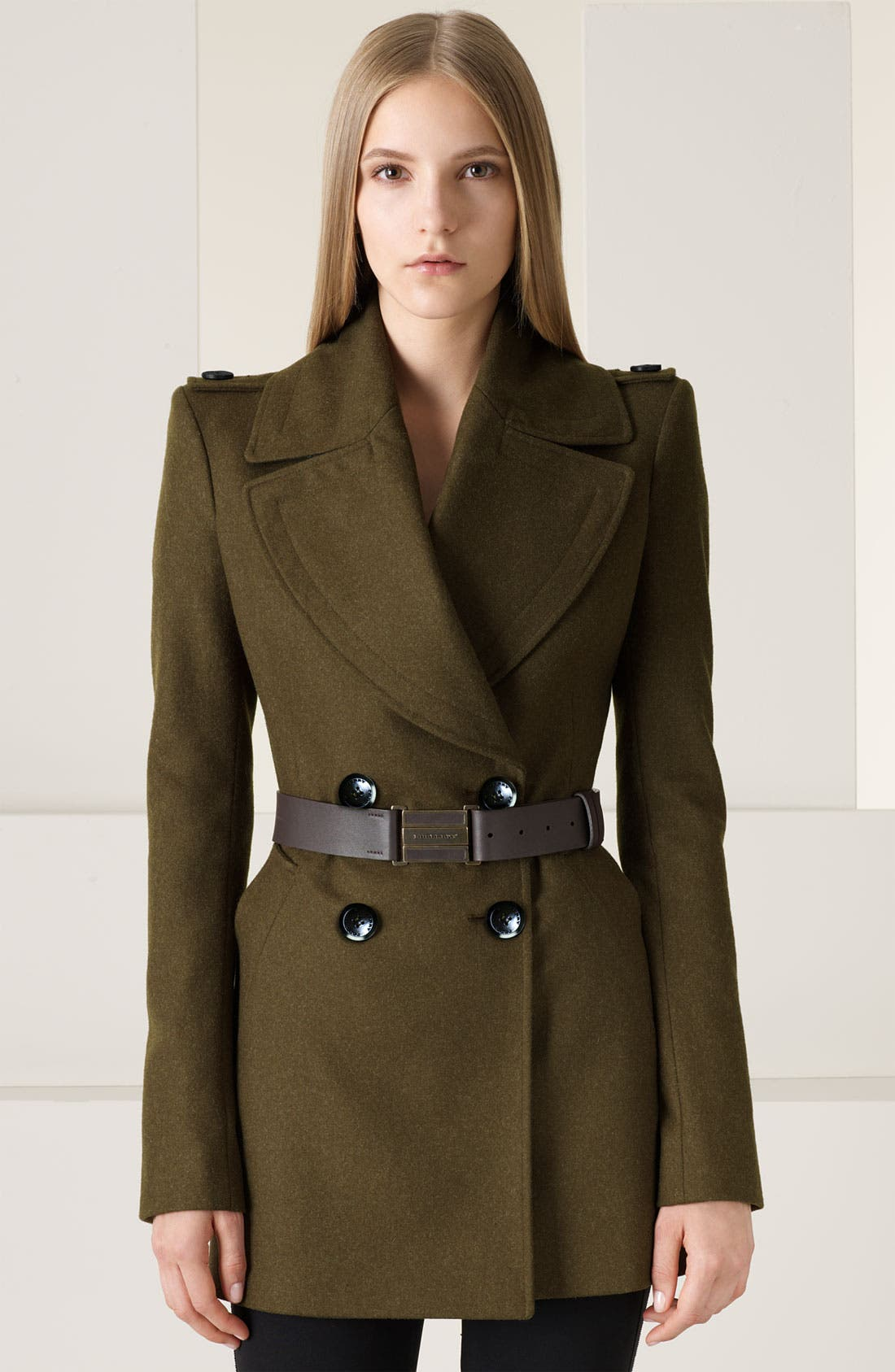 Alternate Image 1 Selected - Burberry Prorsum Double Breasted Felt Military Coat